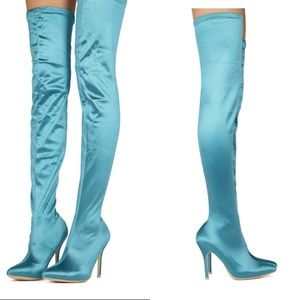 Blue satin over the knee boot